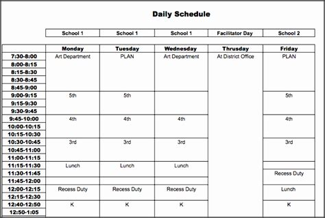 daily schedule template  students sampletemplatess