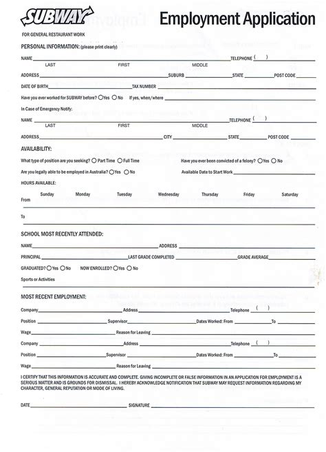 applications cuisine printable application forms forms and print generic blank and sle