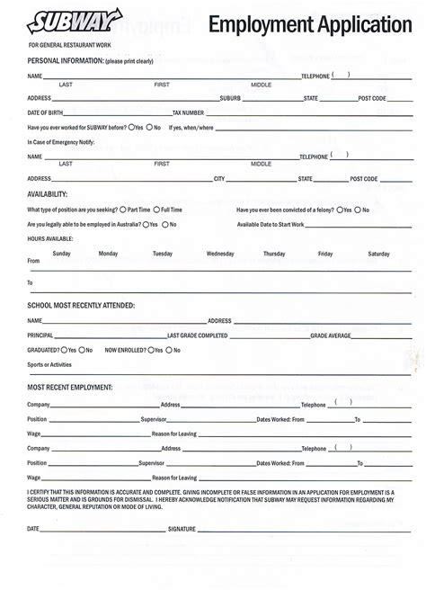 printable job application forms  forms