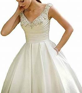 Cheap tea length white wedding dress bridal dresses custom for Amazon cheap wedding dresses