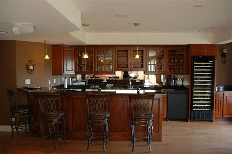 Dark Wooden Cabinets Storage With Mini Bar Table Units