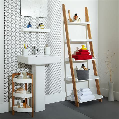 cottage bathroom  add  bathroom ladder shelf