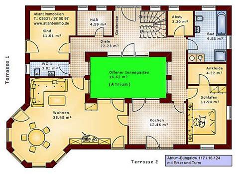 Bungalow Mit Atrium by Atrium Bungalow 117 16 24 Grundriss Mit Erker Und Turm