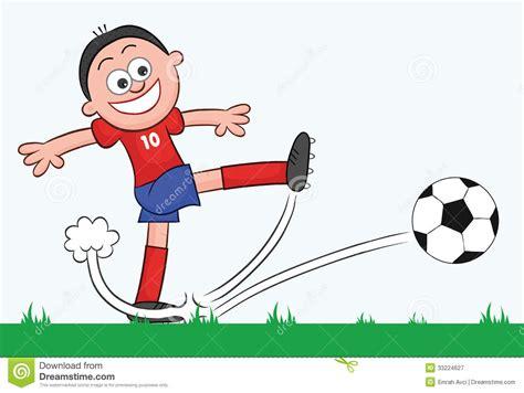Cartoon Soccer Player Kick Stock Vector. Illustration Of