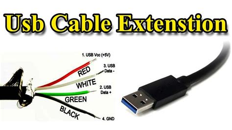 usb cable extension different wire color