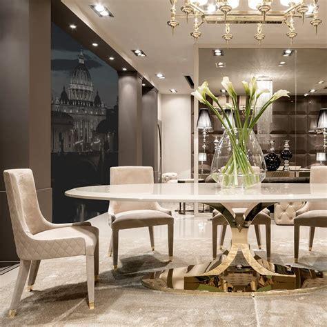 high  gold oval designer dining table set