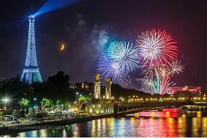 Eiffel Paris Fireworks Tower Moon France Background