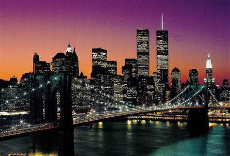 New York City Skyline with Brooklyn Bridge & WTC Classic