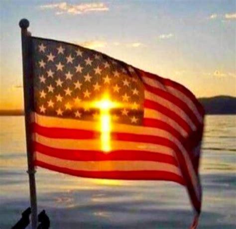 cross  american flag illusion