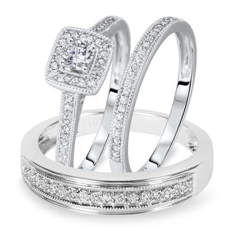 1 2 carat t w cut matching trio wedding ring 10k white gold my trio rings