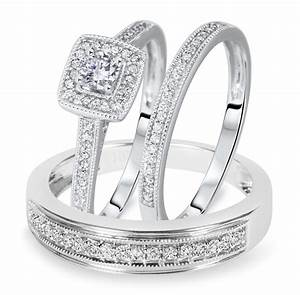 1 2 carat tw round cut diamond matching trio wedding With matching trio wedding rings