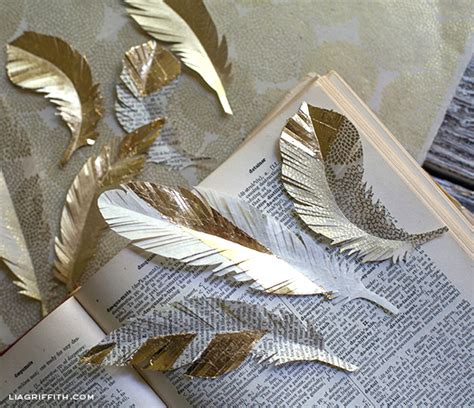 diy paper feathers  gold lia griffith