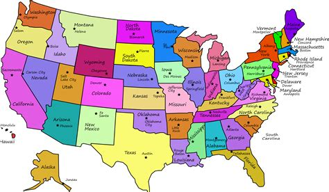 United States Map With Capitals, And State Names By J4p4n