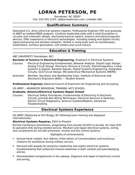 Engineering Resume Summary by Sle Resume For A Midlevel Electrical Engineer