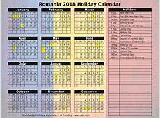 Romania 2018 2019 Holiday Calendar