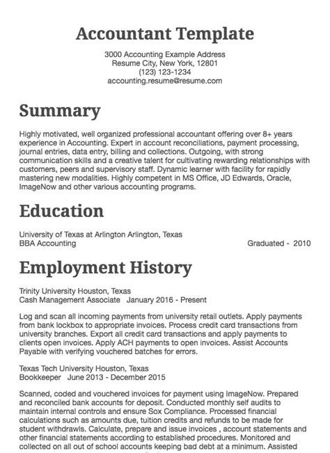 accounting resume sle accountant drafted exles