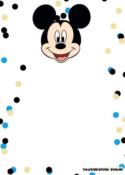 printable mickey mouse blue glitter invitation