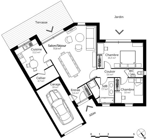 plan maison en v plan maison en v avec 2 chambres ooreka