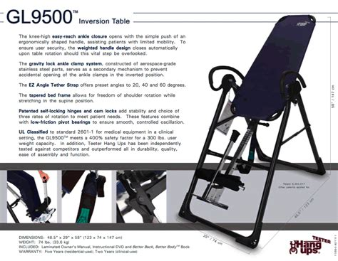 teeter inversion table instructional video teeter hang up inversion table instructions designer