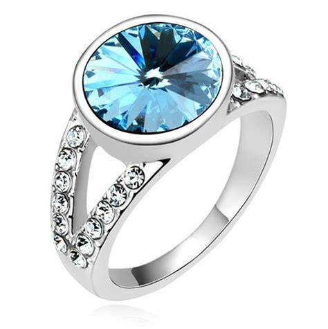 classic design crystals from swarovski ring shiny rings wedding party attractive fashion