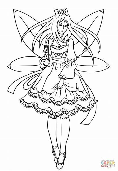 Coloring Fairy Pages Gothic Printable Supercoloring Whitesbelfast