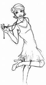 Flapper Drawing Drawings Flappers Lady Painting Google sketch template