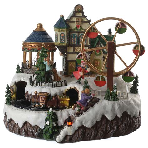animated christmas village with train animated with ferris wheel and sales on holyart