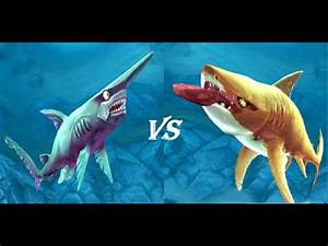 Tiger shark vs Goblin Shark - Hungry Shark World - YouTube