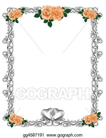 stock illustration peach roses wedding invitation