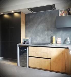 cuisines bois pour des cuisines lumineuses matieres With cuisine beton cire bois