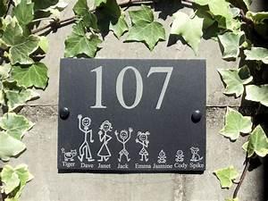 Plaque Numero Maison Personnalisé : personnalis ardoise stick maison familiale nom ou num ro ~ Melissatoandfro.com Idées de Décoration