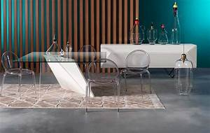 table a manger contemporaine en plexiglasr en verre With roche bobois table salle a manger