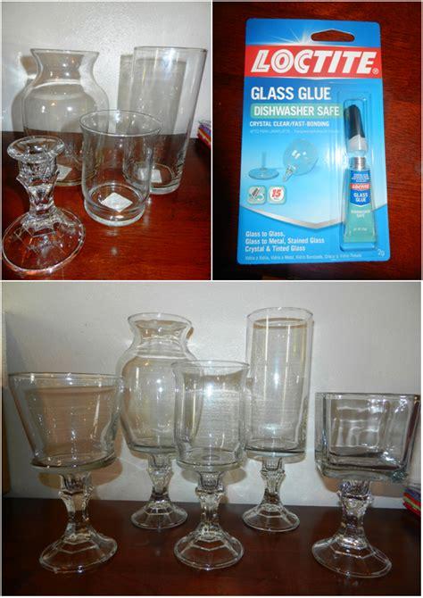 dollar tree candlestick holders  vases  glass glue