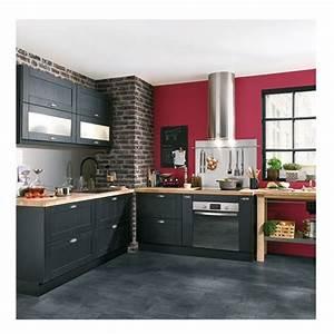 les plus belles cuisines de pinterest murs rouges With cuisine equipee gris anthracite