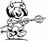 Devil Coloring Diabinho Garfo Halloween Colorir Fork Desenho Faca Tudodesenhos Designlooter Prato Segurando Ratinho Garfield Imprimir sketch template