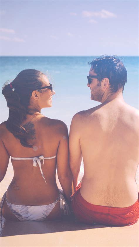 papersco iphone wallpaper mt sea man beach girl