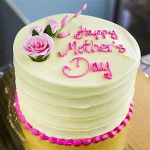 A yellow Mother's Day cake with pink roses. Cake # 001 ...