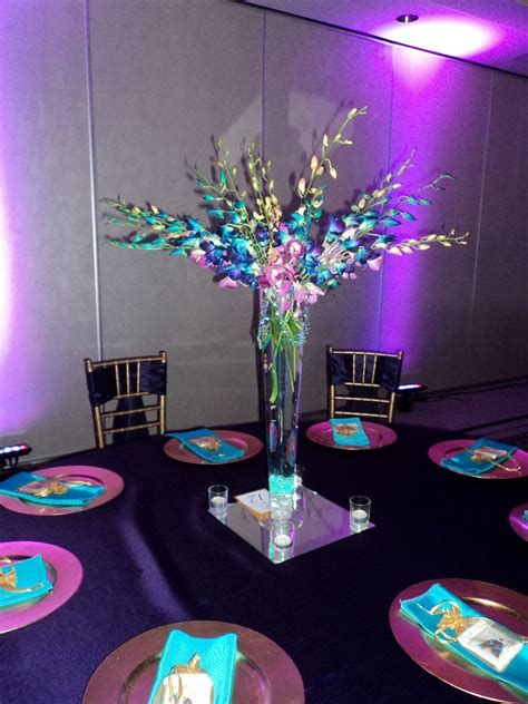 purple table centerpiece ideas vibrant dendrobium orchid