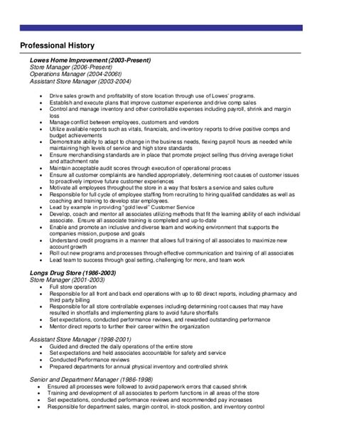 resume for lowes exles resume ideas