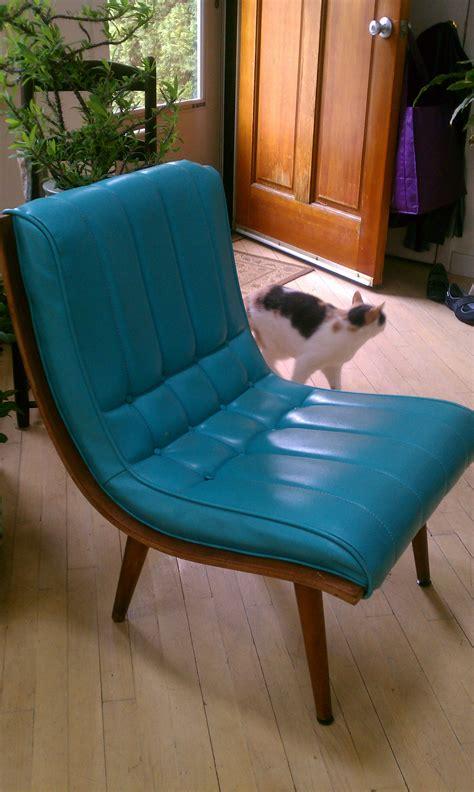 armless turquoise vinyl chair modern upholstered c
