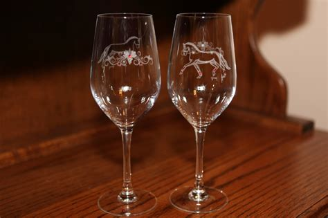Lovely Etched Horse White Wine Glasses