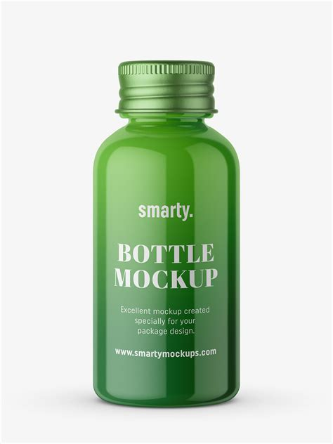 All free mockups include smart objects for easy edit. Glossy bottle with silver cap mockup - Smarty Mockups
