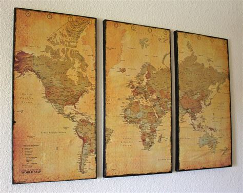 3 Panel Vintage World Map Canvas Wall Art By Just Two Crafty Sisters. Great Idea For Living Room Antique French Doors Brisbane How To Find Out The Value Of An Doll Where Antiques In Paris Pine Tallboy Chest Drawers Ceramic Wood Burning Stoves Refinishing Furniture Before And After Solid Exterior Richmond Va Area