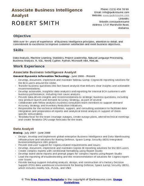 Business Analytics Resume by Business Intelligence Analyst Resume Sles Qwikresume