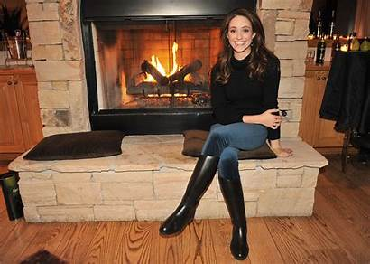 Boots Emmy Rossum Leather Fireplace Dare Dinner
