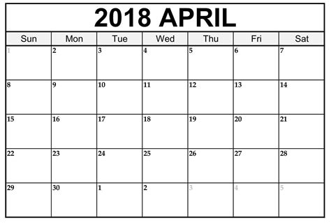 free 2018 calendar template free april 2018 calendar printable printable templates letter calendar word excel