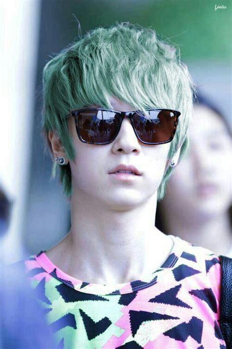green kpop hair  pop amino