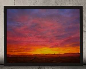 Landscape Original Acrylic Painting Realism Morning Sky With
