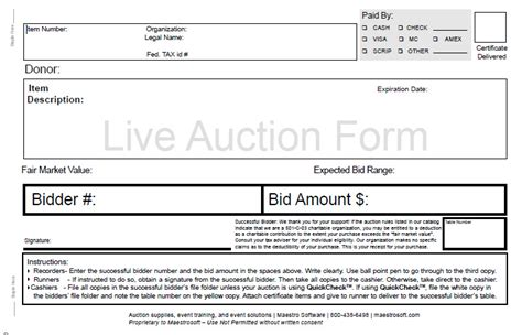 live bid auction live auction bid forms