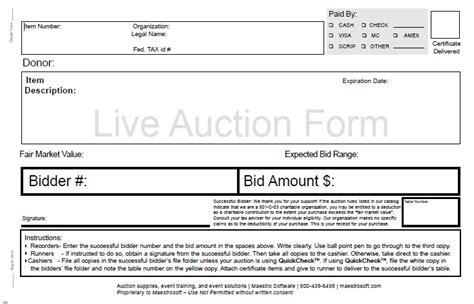 Live Bid Live Auction Bid Forms
